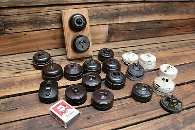 Bulk Vintage Brown Bakelite Switches Art Deco Antique Light Lamp