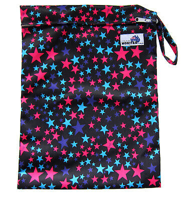 WET BAG FOR CLOTH NAPPY/DIAPER/SWIM WEAR REUSABLE WATERPROOF - Blue & Pink Stars