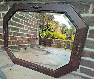 "Antique Solid Oak Octagonal Mirror C.1910 Edwardian Bevelled Glass 29""x23"""