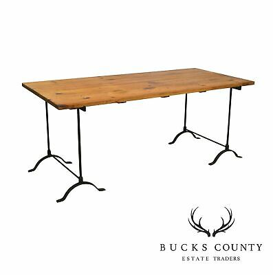 """Rustic Pine Wrought Iron Base 72"""" Farmhouse Dining Table or Writing Desk"""