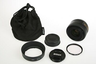 NIKON AF-S DX Nikkor 35mm 1:1.8G 35/1.8 Lens+Caps, UV, Hood, Bag Minty/Tested