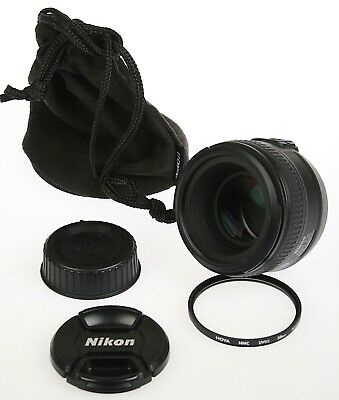 NIKON AF-S Nikkor 50mm 1:1.4G 50/1.4 Lens+Caps, Hoya UV, Soft Case Minty/Tested