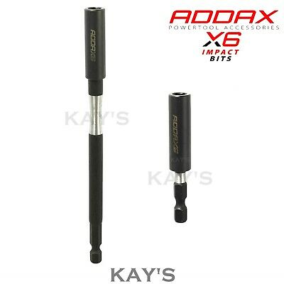 "ADDAX X6 IMPACT DRIVER MAGNETIC BIT HOLDER ADAPTORS FOR 1/4"" BITS 60mm,150mm"