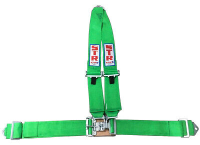 STR 3-Point 'V-TYPE' Pull Down Roll Bar Harness with NASCAR Latch - Green