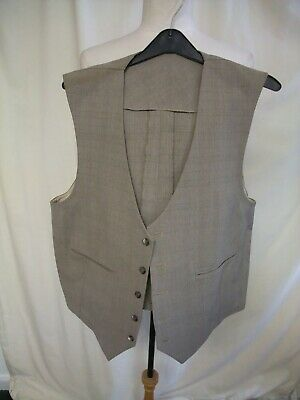 "Mens Waistcoat custom made, light brown wool?, chest 42"", length 22"", used 1930"