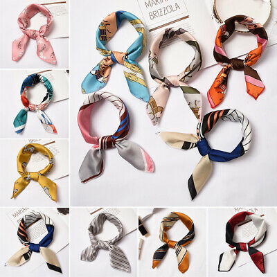 Gifts Small Vintage Women Silk Feel Satin Head Neck Square Scarf Hair Tie Band