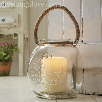 18 x 22 cm Large Glass Vase/Candle Holder With Rope Handle - You Are My Sunshine