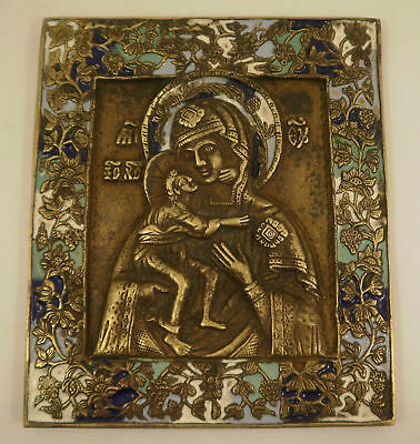 Two Old Antique Orthodox Russian bronze icon enameled - 19th century