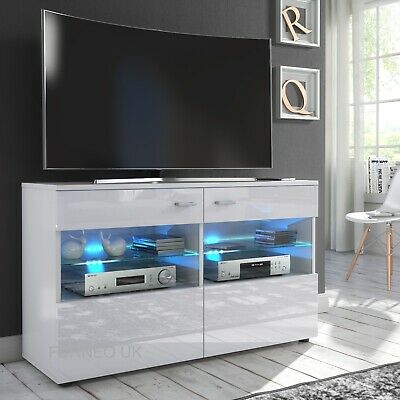 Entertainment Centres & TV Stands Large 177cm TV Unit Stand Cabinet High Gloss And Matt RGB LED Lights White Grey home entertainment