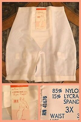 Vintage GIRDLE Nylon Spandex 1970s Long Leg White WAIST 35 - 36 HIP 45 - 46; 3X