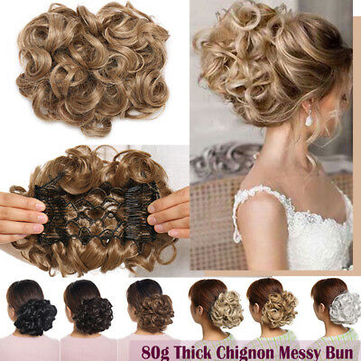 Elastic Scrunchie Messy Bun Chignon Curly Wavy LARGE THICK Hair Extension Blonde