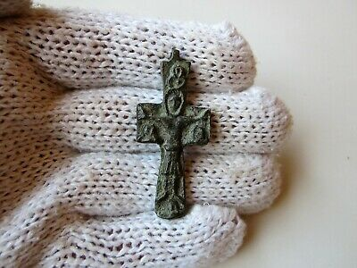ancient Byzantine massive bronze embossed cross.