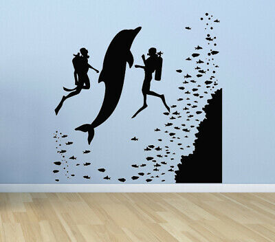 Dolphin Mural fish ocean sea Stickers wall Decals Decor removable vinyl art N43