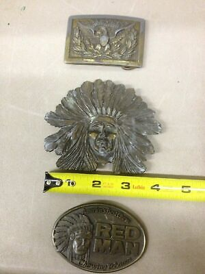 Lot of 3 Brass Belt Buckles Indian Head Red Man Chewing Tobacco