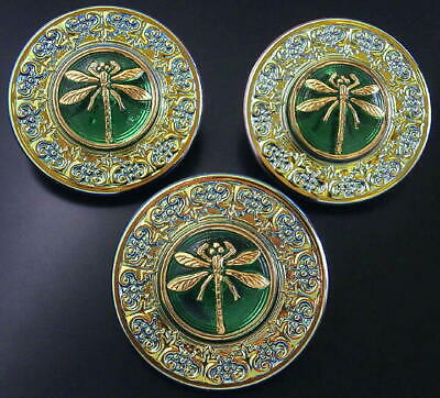 3 Czech UNIQUE Glass Buttons #B048 - RARE - LARGE (34 mm)-(almost 1-3/8 inches)