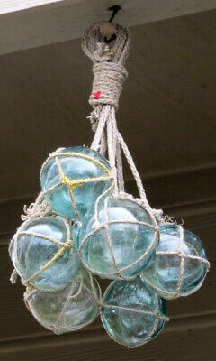 Japanese Wood Fishing Floats (7) Netted Glass Hanging Authentic Pool Tiki Decor
