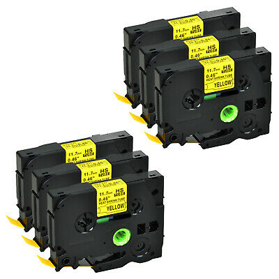 """6 PK HSe631 Black on Yellow Heat Shrink Tube Tape for Brother E550W 0.47""""x4.92ft"""