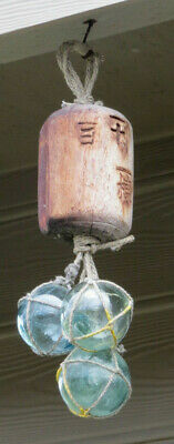 Japanese Wood Fishing Float Kanji-Marked-Wooden + Glass (3) Netted Hanging Tiki