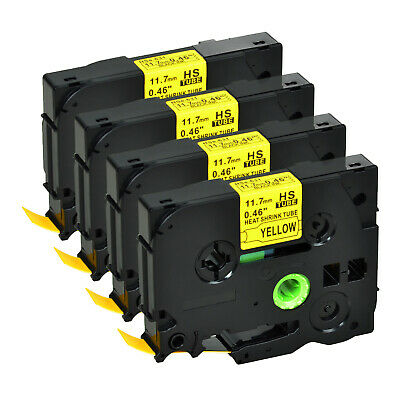 """4 PK HSe631 Black on Yellow Heat Shrink Tube Tape for Brother PT-E550WVP 0.47"""""""