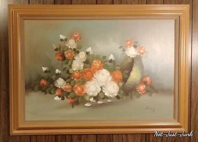 LARGE Framed Oil Painting, Floral Roses & Tipped Over Wicker Basket Signed Rossy