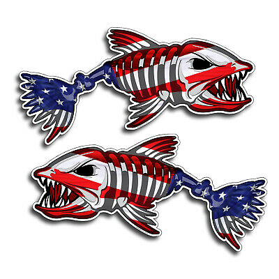 """18/"""" Pair Sword Fish American Flag Sticker Car Vehicle Marlin Boat Graphic Decal"""