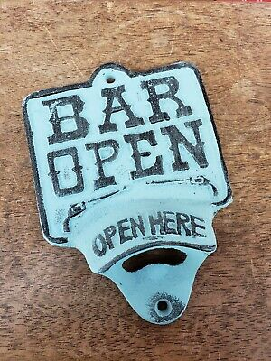 Cast Iron BAR OPEN OPEN HERE Beer Bottle Opener Rustic Wall Mount