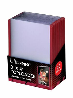 (250) Ultra Pro Red Border Topload Card Holder Toploader ACEO + Free Sleeves