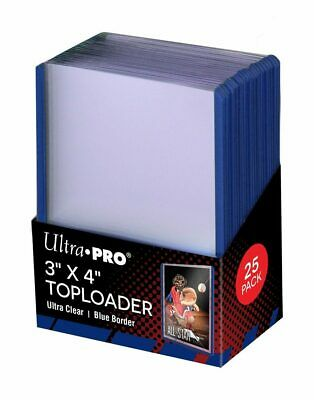 (250) Ultra Pro Blue Border Topload Card Holder Toploader ACEO + Free Sleeves