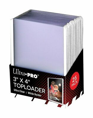 (250) Ultra Pro White Border Topload Card Holder Toploader ACEO + Free Sleeves