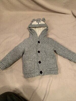 Mothercare 12-18 Month Grey Knitted Hooded Cardigan Thick Lined