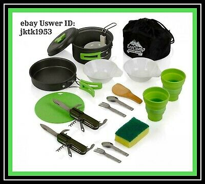 EcoCamp OUTDOOR GEAR Mess Kit (14 Pcs) for Camping w/Cookware Set