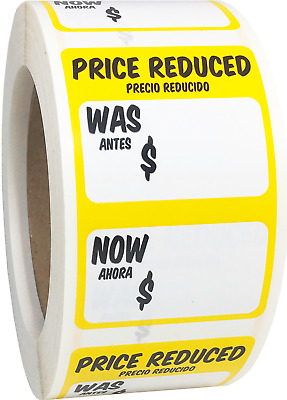 Price Reduced Retail Grocery Market Stickers, 2 x 3 Inches, 500 Labels Total