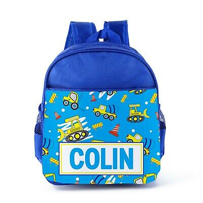 Personalised Diggers Construction Boys Kids Backpack, Childrens School Bag 31