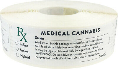 Generic Medical Cannabis Marijuana Stickers, 1 x 3 Inches, 500 Labels on a Roll