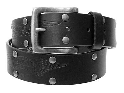 Harley-Davidson Mens Etched Wings with Rivets Black Leather Strap Belt by LODIS