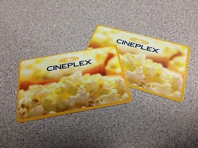 Two (2) Cineplex Cards - $25.35 Total
