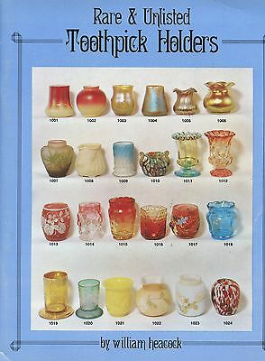 Rare Art Glass Toothpick Holders - Makers Dates Design Numbers / Scarce Book