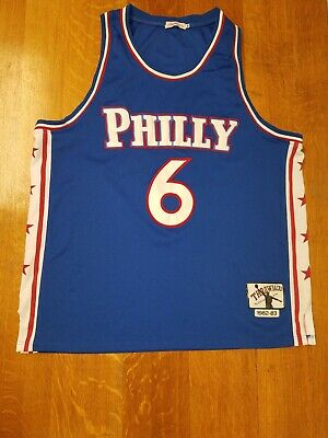 db3a0beebf0 Dr. J Julius Erving  6 Philadelphia 76ers Blue Throwback Sewn Jersey Men s  2XL
