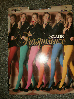 """Trasparenze  Tights  Pantyhose    size 3  5""""4"""" - 6'   132 - 187lb   Antracite"""