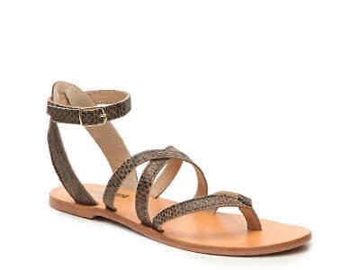 bee44bad4223 Matisse x Amuse Society Size 9M Leather Snake Print Strappy Ankle Wrap  Sandals