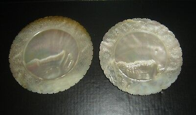 Antique Chinese Ming Pair of Carved Mother of Pearl Plates From a Single Shell.