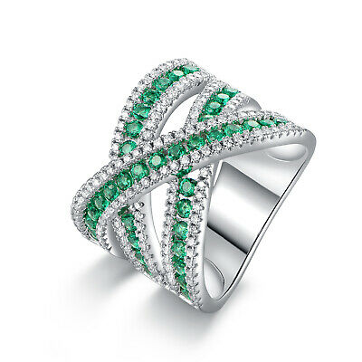 Rhodium Plated Lab Created Emerald & Cubic Zirconia Crisscross Ring -