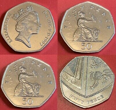 1997 - 2019 Royal Shield Of Arms and Britannia 50p coins