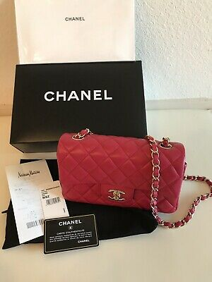 a12e7a1572cc New CHANEL Pink Red Leather Mini Classic Flap Lamb Rectangle Crossbody Bag