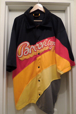 Vintage Mens 2XL Shirt Color Blocked Hip Hop Brooklyn Logo Xpress Retro NYC