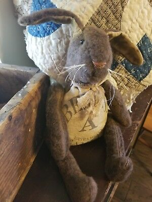 Primitive Farmhouse Chocolate Bunny With Vintage Label