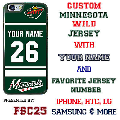 Like us on Facebook · Minnesota Wild Personalized Green Hockey Jersey Phone Case Cover for iPhone etc.
