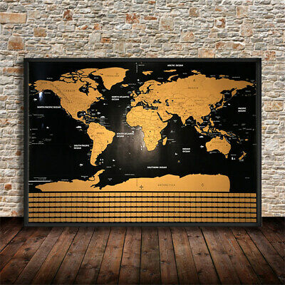 Deluxe Scratch Off World Map Poster Personalised Journal Travel Atlas Decor Big
