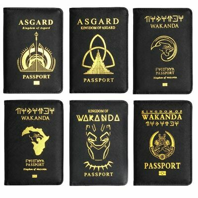 Leather Passport Holder Wakanda Black Panther Case Style for Unisex Fashion