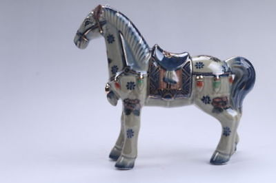 Collection Chinese hand carving Enamel porcelain horse statue